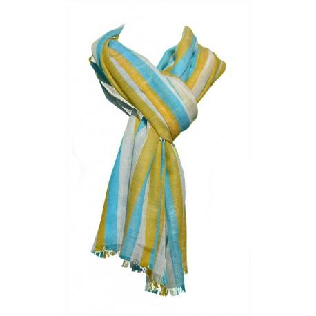 Châle Aristocrate 100% Pashmina de Cachemire motifs lignes beige-orange-bleu