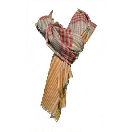 Châle Aristocrate 100% Pashmina de Cachemire motifs à carreaux rouge-marron-gris