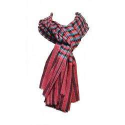 Châle Aristocrate 100% Pashmina de Cachemire motifs à carreaux rouge-violet-noir