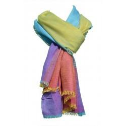 Châle Aristocrate 100% Pashmina de Cachemire motifs lignes multicolores