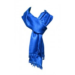 Foulard Brillance 100% soie sauvage couleur bleu acier
