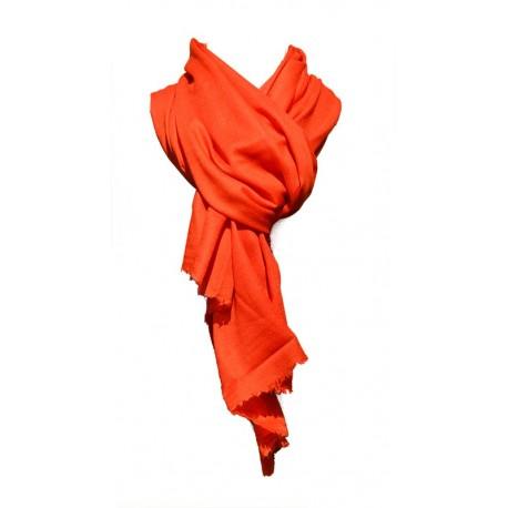 Châle Châtelain 100% cachemire couleur rouge vif