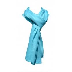Châle Châtelain 100% cachemire couleur bleu givré