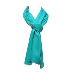 Châle Châtelain 100% cachemire couleur bleu sarcelle