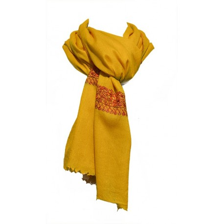 Châle Hobereau 100% cachemire couleur jaune auréoline - broderie rouge