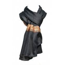 Châle Hobereau 100% cachemire couleur noir - broderie orange