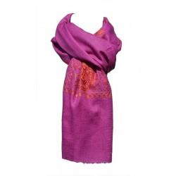 Châle Hobereau 100% cachemire couleur fuchsia - broderie rouge