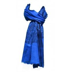 Châle Junker 100% cachemire couleur bleu nuit avec motifs indiens noirs