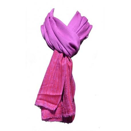 Châle Junker 100% cachemire rose fuschia motifs indiens rouge aux extrémités