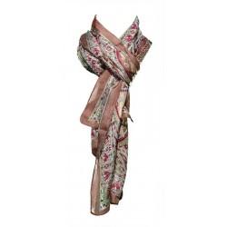 Foulard Femme Classique 100% soie - Beige avec motifs indiens