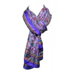 Foulard Femme Classique 100% soie - Violet avec motifs indiens