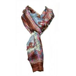 Foulard Femme Classique 100% soie - Marron électrique avec motifs indiens